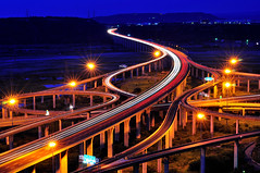 Traffic trails of interchange 3-, (Vincent_Ting) Tags: sky architecture taiwan engineering freeway taichung    interchange  traffictrails hightway