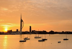 Spinnaker Dawn (Mark A Jones (Andreas Jones Photography)) Tags: sea england sky sun seascape sunrise boats nikon harbour hampshire portsmouth spinnakertower gosport leefilters d700