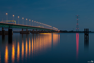 Haringvlietbridge at blue hour