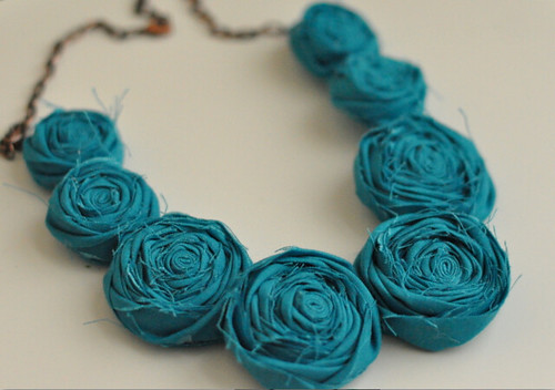 Allora Handmade — modern pearl rosette statement necklace {turquoise}_1312341257100