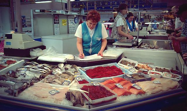 selling fish, riga central market