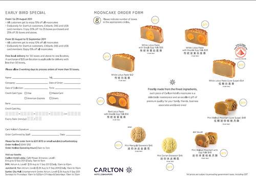 Carlton Hotel mooncake order form