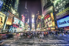 In the middle of Times Square HDR (Dave DiCello) Tags: newyorkcity newyork photoshop nikon manhattan tripod timessquare nikkor hdr highdynamicrange cs4 theatredistrict photomatix tonemapped timessquarenyc colorefex cs5 d700 davedicello hdrexposed
