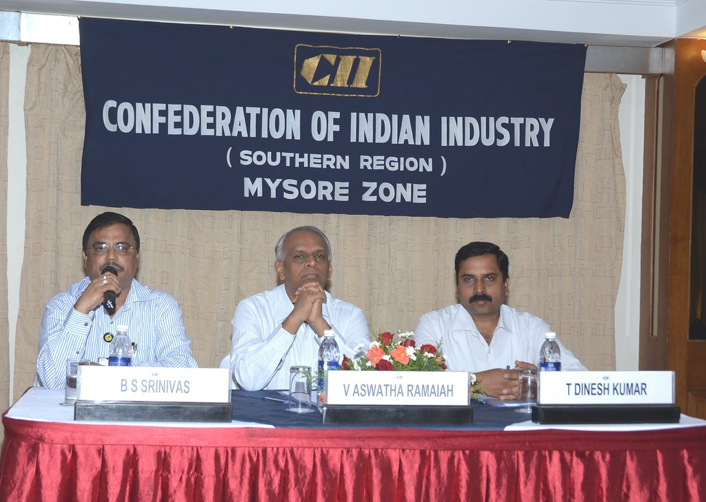Mr B S Srinivas, Convenor, HRD Panel, CII Mysore Zone & GM - HR & IR, JK Tyres & Industries Limited addressing the Workshop on Building High Performance Teams on 26th July 2011 in Mysore