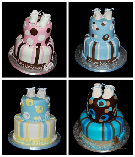 2 tier baby shower cakes with booties