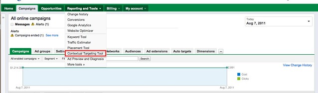 Adwords Contextual Targeting Step1