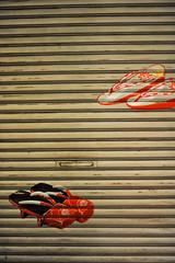Get-A Shop (Nazra Zahri) Tags: japan shop painting japanese 50mm nikon shoes traditional front shutters nikkor okayama geta 50mmf14d 2011 omotecho d700
