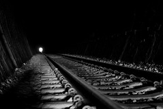 Path to Darkness (daniellih) Tags: county railroad light shadow bw white black station contrast train dark nikon looking darkness floor bright low taiwan rail railway ground tunnel line inside   miaoli      shengxing  d90