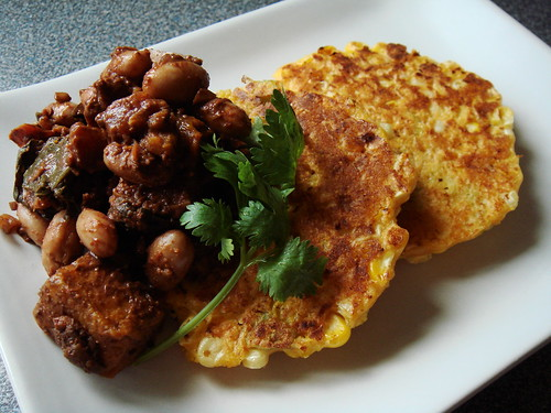 Corn Fritters with Romano Bean Roasted Butternut Squash Mole