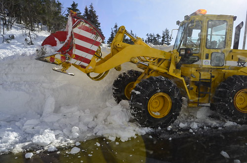 clearing the road of the snow