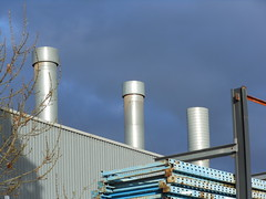 Metal Against the Sky (mikecogh) Tags: industry factory shed stack frame trio chimneys netley