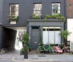 Shopfront & Bikes: Warren Street (Curry15) Tags: london grey fitzrovia w1 shopfront warrenstreet pinkbike greenbike georgianhouse gradeiilisted warrenmews mid19thcenturyshopfront