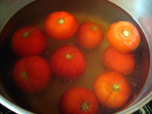 Tomato heaven: quick boil to remove skins