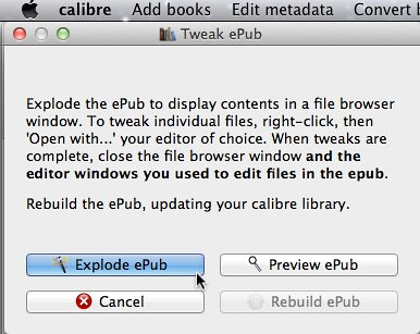 Explode EPUB in Calibre