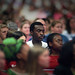 Wolfpack basketball All-American Julius Hodge sits among the crowd gathered in Reynolds Coliseum after the 9/11 attacks.