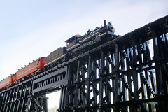 Rail In The Sky (SavaTheAggie) Tags: wood railroad trestle bridge car train photo wooden coach texas tour lego state scenic engine trains steam east rake ten wheeler locomotive passenger creosote 460 tsrr
