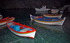 Greece, South Aegean sea, Antikythira island, Potamos, boats in the harbor at night