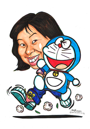 Lady caricature with Doraemon