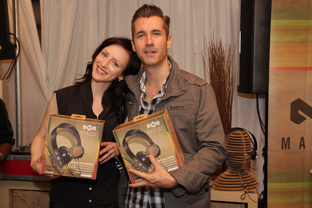 Sarah Slean and Royal Wood with their new House of Marley headphones