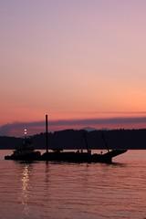 Fireworks barge 30 minutes 'til showtime (c0yote) Tags: longexposure sunset fireworks tugboat barge mukilteo dusktodawn lighthousefestival