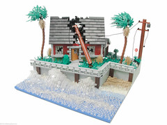 Hurricane Irene (Blake's Baericks) Tags: door roof tree beach broken window water glass grass fire angle lego wind telephone hurricane blowing palm pole irene smashed olympics blake baer moc mocolympics