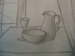 Purity (Early_Risen) Tags: stilllife food pencil table wine drink recycled drawing juice bowl eat shade jug pitcher graphite goblet shading lightscource