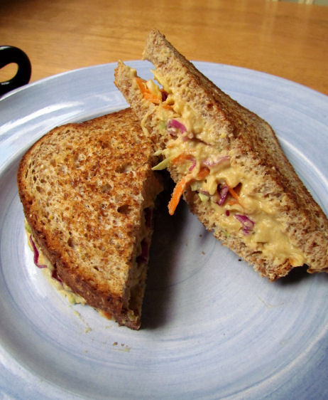 Coleslaw and Hummus Sandwich