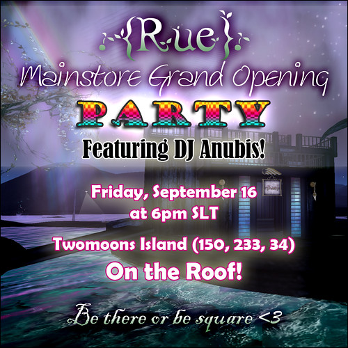 {Rue} Grand Opening Party Flyer