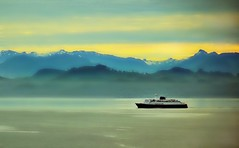 Misty Morning Sunrise - Alaska Landscape (blmiers2) Tags: ocean morning travel cruise blue sea sky mist mountain mountains green nature water yellow misty alaska clouds sunrise landscape photography nikon cruiseship sunrises d3100 blm18 blmiers2