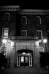 Entrance (NickGourlie) Tags: bw white black building brick architecture night facade canon dark campus photography lights evening photo washington nikon university doors shot state dusk entrance deep spooky nighttime photograph entryway wsu pullman wa exit dslr sly palouse