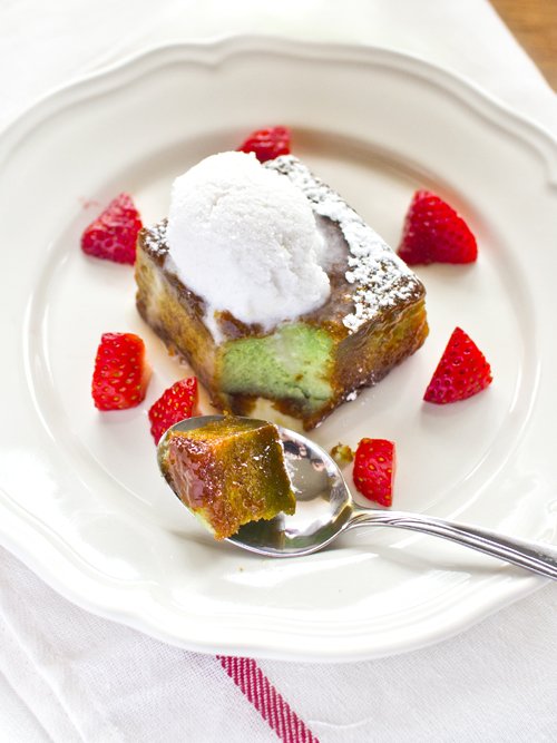 caramelised pandan cake with coconut sorbet