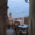 Monemvasia (single gate) - café by the sea