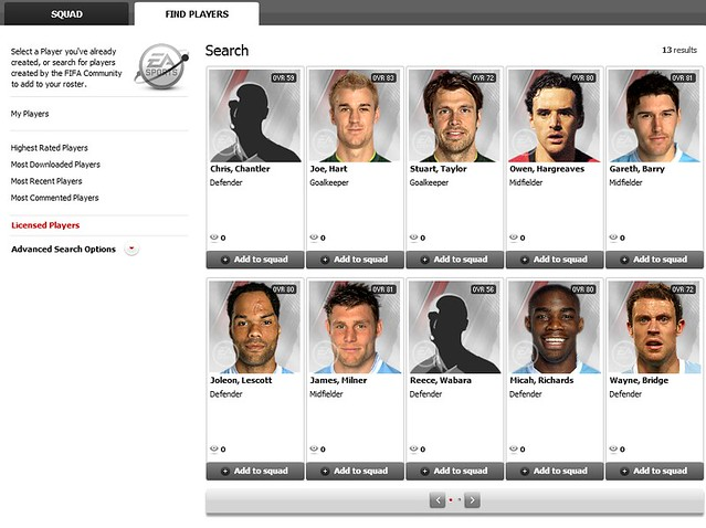 FIFA 12 Creation Centre: Use Licensed Players