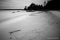 Trident Beach (/ shadows and light) Tags: trees bw beach water monochrome sign design sand rocks manitoba sunsetbeach trident ideogram lakewinnipeg heclaisland