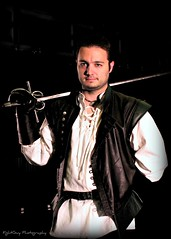 Blades of Shakespeare: Craig (Portrait) (FightGuy Photography) Tags: portrait leather belt gloves weapon craig sword blade rapier jerkin roguesteel ravenswoodleather fightguyphotography