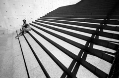Chicago - Illinois (luca marella) Tags: street city urban bw woman usa white black film girl stone stairs composition america blackwhite graphic voigtlander bessa pb bn line e bianco nero analogic marellaluca