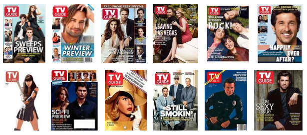 a gallery of TV Guide covers, most of which feature white men