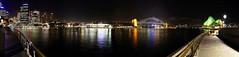 8110 Sydney Opera House & Bridge (Rmonty119) Tags: sea water night pano sydney australia circularquay panoramic latenight nsw operahouse canon50d nodalnija3 kolorautopanopro25