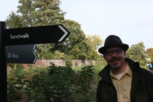 John Hawks at the Sandwalk sign at Down House