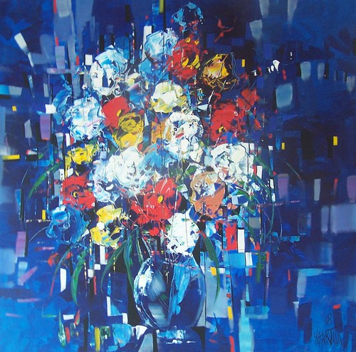 Flowers in Blue - Painting - Original