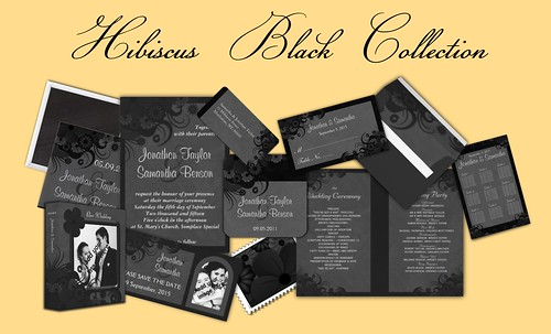 Black Hibiscus Floral Wedding Table Seating Charts