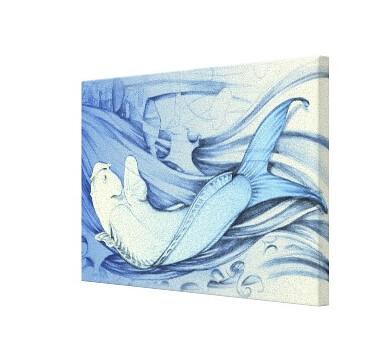 Lienzo Pez Japonés Azul