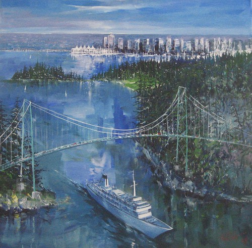 Cruise Ships in Vancouver - Painting - Impressionism