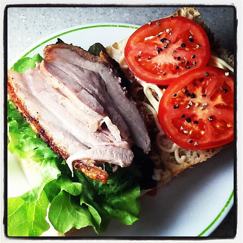 Weekend project: The PBLT: roast pork belly, lettuce, tomato sandwich