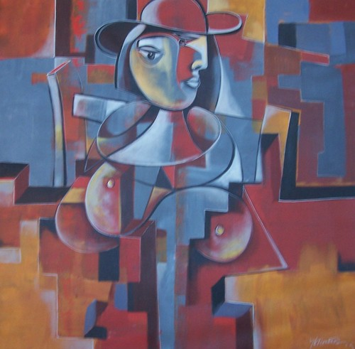 Lady in the City - Painting - Cubism