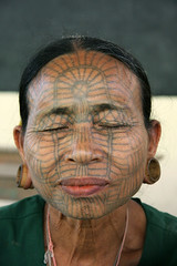 Traditionally tattooed lady in the Chin state, Myanmar (sensaos) Tags: portrait people woman face tattoo lady asia state burma capital tribal u myanmar tribe ethnic birma chin azie azië tattooed mrauku mrauk rakhaing