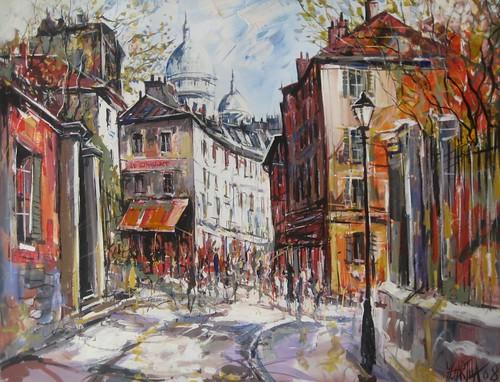 L'Entre a Montmartre - Painting - Impressionistic