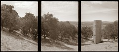 Ann Hamilton's Tower at Oliver Ranch (efo) Tags: california bw tower film triptych hamilton multiframe incamera geyserville oliverranch olympuspens