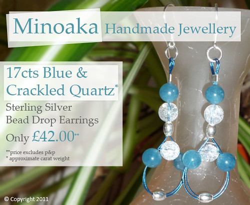 Blue & Crackled Quartz Sterling Silver Bead Drop Earrings - e000001