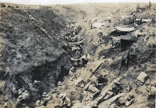 """The second day of the Battle of Gaza"". British soldiers resting in a trench. Palestine. WW1."